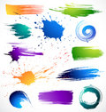 Collection of brush strokes Stock Photos