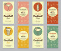 Collection of business cards for cocktail bar Royalty Free Stock Photo