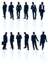 Silhouette businessman business man vector people suit person secret agent standing male men adult black office manager human tie Royalty Free Stock Photo