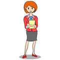 Collection of business women with paper