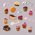 Collection of cakes and desserts stickers isolated on gray background.