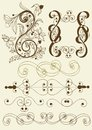 Collection of calligraphic vector elements Stock Photo