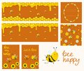 Vector honey banners. Cartoon illustrations. Honeycombs, bees, flowers. Collection of cards, banners, flyer, seamless pattern,