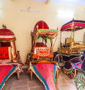 Collection of carriages in the city palace in jaipur india oct coaches on oct india it was seat maharaja Royalty Free Stock Photo