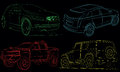 Collection of cars with vector paths. Royalty Free Stock Photography