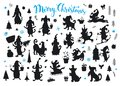 Collection of cartoon christmas and happy new year dogs silhouettes Royalty Free Stock Photo