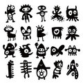 Collection of cartoon funny monsters silhouettes Royalty Free Stock Photography