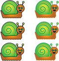 Collection Of Cartoon Vector Snails Royalty Free Stock Photo