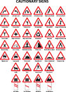 Collection cautionary traffic signs Royalty Free Stock Images