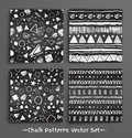 Collection of chalked seamless patterns