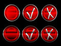 Collection of check or mark buttons over black Royalty Free Stock Photo