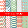 Collection of Chic Vector Seamless patterns Royalty Free Stock Photo