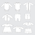 Collection of children clothes, vector illustration of baby sleepwear and outfits for boy and girl