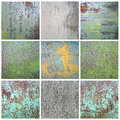 Collection chipped paint on rusty metal surface Royalty Free Stock Photo