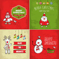 Collection of christmas cards four with fun characters and decorative elements Royalty Free Stock Photography