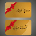Collection of christmas gift card with a red ribbon and bow vector Stock Photos