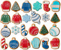 Collection of Christmas gingerbread cookies Royalty Free Stock Photo