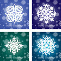 Collection of christmas lace different snowflakes Royalty Free Stock Images