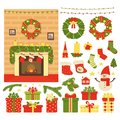Collection of Christmas and New Year`s decor isolated on white background. Vector illustration in cartoon
