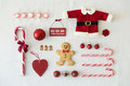 Collection of christmas objects on a white background Royalty Free Stock Images