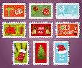 Collection of christmas post stamps Royalty Free Stock Photography