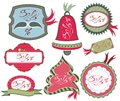 Collection of christmas tags ornaments and decorative elements Stock Images