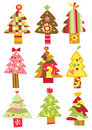 Collection of Christmas Trees Royalty Free Stock Image