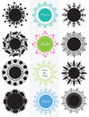 Collection of circle banners, badge with flowers. Design elements for card, labels, stickers easy to change colors.