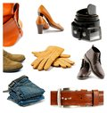 Collection of clothes shoes and accessories contemporary male female isolated on white background Stock Images