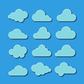 Collection of cloud icons vector illustration on blue background Stock Photography