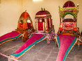 Collection of coaches in the city palace in jaipur india oct on oct it was seat maharaja Royalty Free Stock Photography