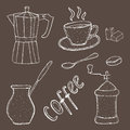 Collection of coffee sketch tool, hand drawing, vintage style. vector illustration; Royalty Free Stock Photo