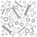 Collection of cogs and wrenches, gears pattern