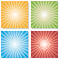 Collection of 4 color burst backgrounds. Vector. Royalty Free Stock Photo