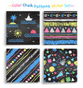 Collection of color chalked grunge seamless patterns