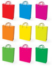 Collection of colored bags for shopping Royalty Free Stock Photos