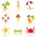 Collection of colored beach icons nine vector design elements Royalty Free Stock Photo