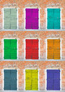 Collection of colored doors in the island giudecca in venice Royalty Free Stock Image