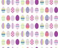 COLLECTION OF COLORED EASTER EGGS. FUNNY HOLIDAY TEXTURE. SEAMLESS VECTOR PATTTERN Royalty Free Stock Photo