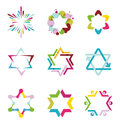 Collection of colorful abstract star icons Royalty Free Stock Photo
