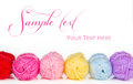 Collection of colorful balls of woolen yarn Royalty Free Stock Photo