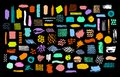 Collection of colorful bright dry paint brush marker ink stokes textures