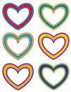 Collection of colorful fabric hearts Stock Photo