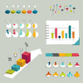 Collection of colorful flat infographic elements business shapes Stock Images
