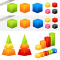 Collection of colorful geometric 3D shapes Stock Photo