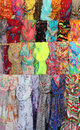 Collection of colorful hanging shawls knotted in multiple rows Stock Images