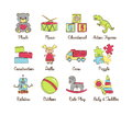 A collection of colorful modern cartoon outlined icons for various toys