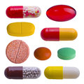 Collection of colorful pills on white isolated Stock Photography