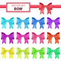 Collection colorful ribbon bows on white background vector illustration for your holiday gift design red blue purple pink orange Stock Photography