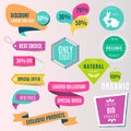 Collection of colorful sale tickets, labels, stamps, stickers, corners, tags for shops. Vector illustration.